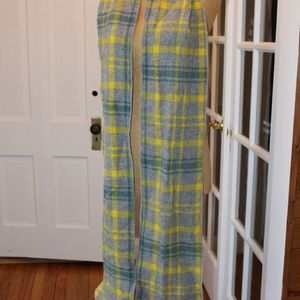 long yellow, green and grey wool scarf